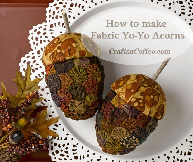 So pretty, and perfect for fall. These are made with vintage yo-yos, and you could make your own with other fabrics, too. CraftsnCoffee.com.