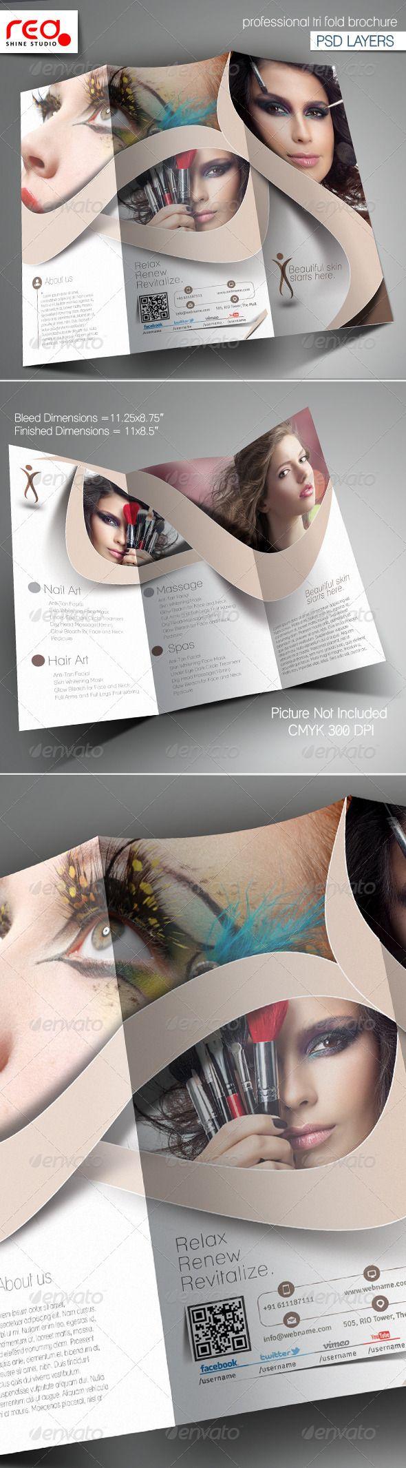 Beauty Salon Trifold Brochure Template