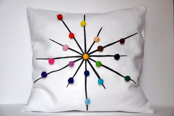 tuliManna White Linen Pillow Cover With Colour Wheel by tuliManna, $35.00