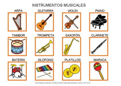 Instrumentos musicales by Dana Horodetchi, via Slideshare