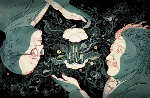 Illustration albert einstein science Victo Ngai nautilus