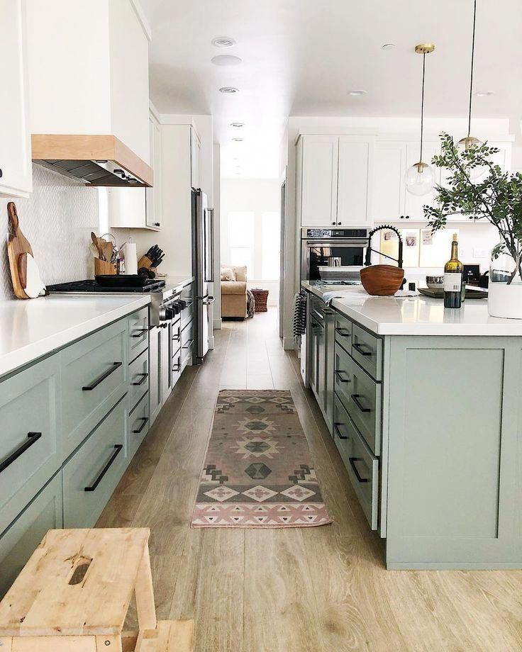 spacious kitchen // sea foam green kitchen cabinets ...