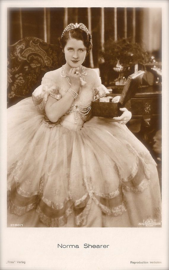 Norma Shearer Famous Hollywood Film Actress Elegance Glamour Romantic Princess with Tiara & Mystic Box Original Rare 1920s Art Deco Postcard