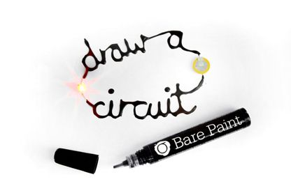 """""""Bare,"""" started as  a body paint that conducts electricity. The non-toxic ink transforms skin into a highly conductive surface, providing a low resistance contact between the surface of the skin and an electrode. Possible uses include interacting with electronic circuits through gesture, movement and touch. The ink can be temporarily applied with a brush, stamp or spray."""
