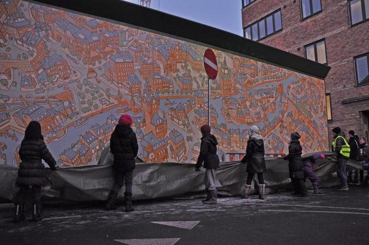 My mural is revealed by kids form the block.