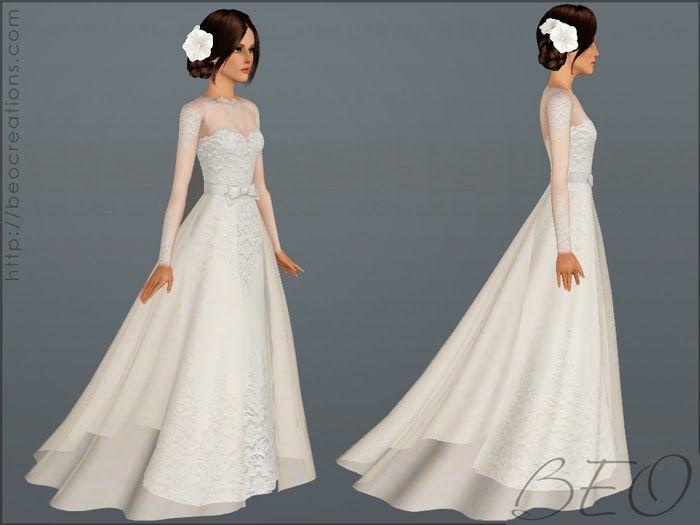 My Sims 3 Blog: Brautkleid 28 & Bouquet von BEO   – Sims 4