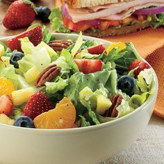 panera strawberry poppyseed salad copycat recipe 6 cups romaine lettuce, chopped 1 cup slice strawberry 1 cup fresh blueberries 1 cup mandarin orange 1 cup pineapple chunks in juice 1/2 cup pecans grilled chicken breast, chunks (if you want meat) DRESSING 1/2 cup mayonnaise, i use light 1/4 cup skim milk 1/4 cup Splenda sugar substitute 1/8 cup white vinegar 1 tablespoon poppy seed