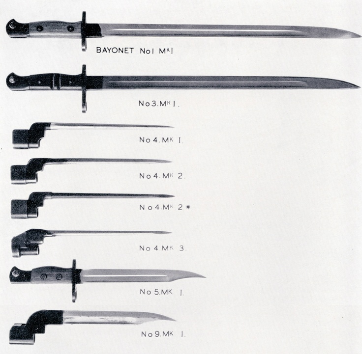 The family of bayonets for Lee-Enfield rifles, from the No.1 to No.5 rifle