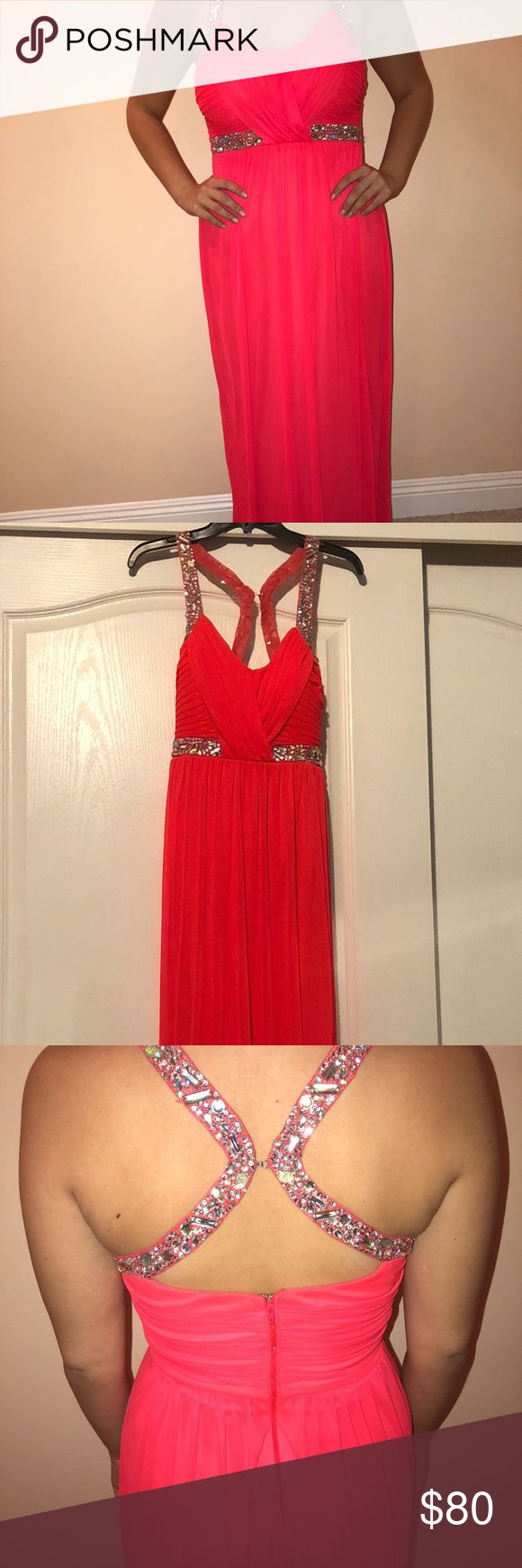 Formal dress Long coral colored formal dress with sequin straps, size 9 and only worn once ! jcpenney Dresses Prom