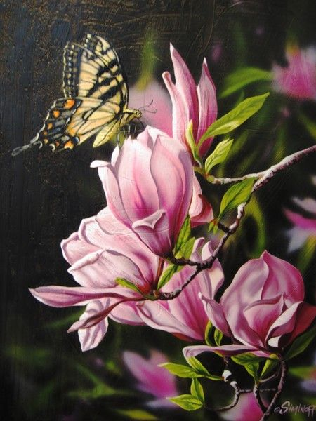Swallowtail on Magnolias oil on canvas painting by Jeff Siminoff