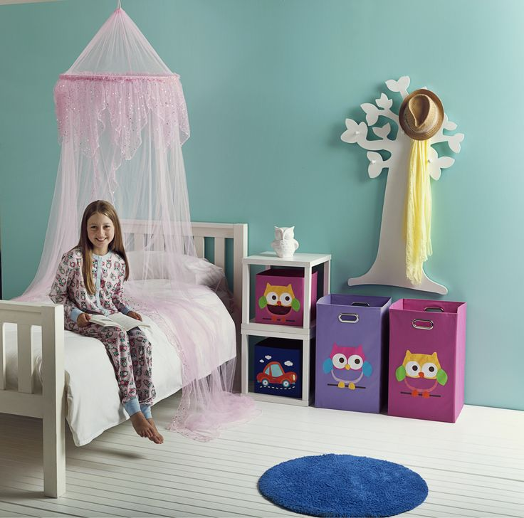 Children's Bedroom Accessories. Storage boxes owls or cars $4, Bed Canopy in white or pink $15 or Wall Tree with hooks in pink, white or purple $30 all from The Reject Shop!