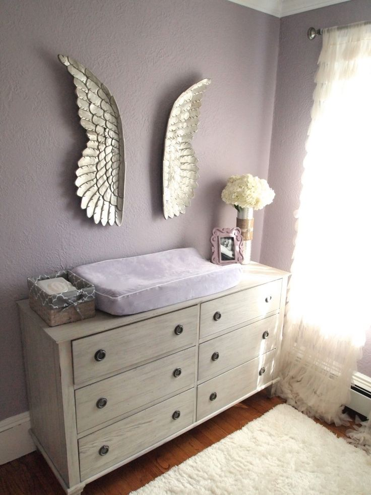 These angel wings in this glam #nursery are such a sweet touch.: Angel Wings, Wall Color, Nursery Dresser, Baby Girl, Nursery Ideas, Baby Room, Baby Stuff