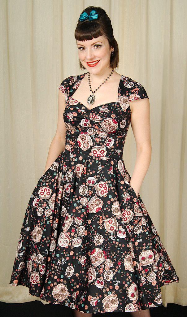 Hell Bunny Black Sasha Sugar Skull Dress for sale at Cats Like Us - 3