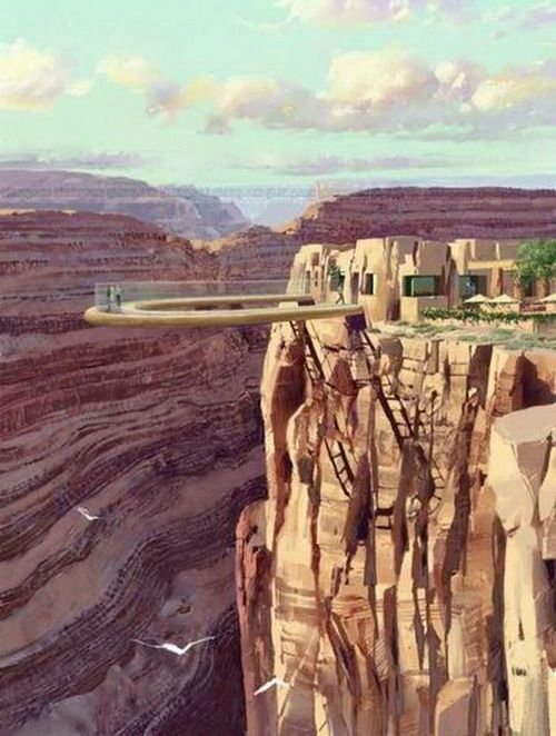 """the glass bridge at the Grand Canyon.  4000 feet about the  Colorado River.  """"Don't look down."""""""