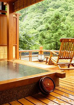Ikaho hot spring, Gunma, Japan Good height for hot tub, and I like the shape and view and indoor/outdoor feel.