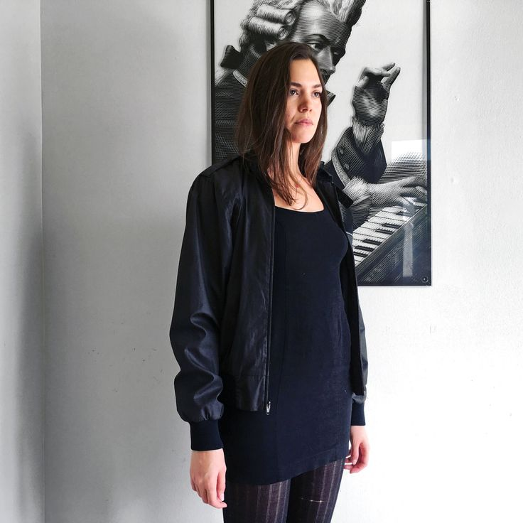 VTG 90s Black Military Bomber Jacket // Knock-Off Members Only By Special Request