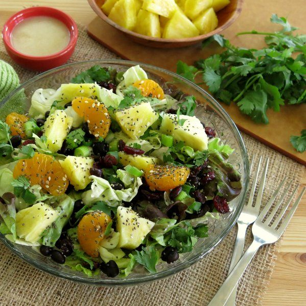 Caribbean Salad with Honey Lime Dressing: Oil Olives, Ohana Restaurant, Sun Flowers