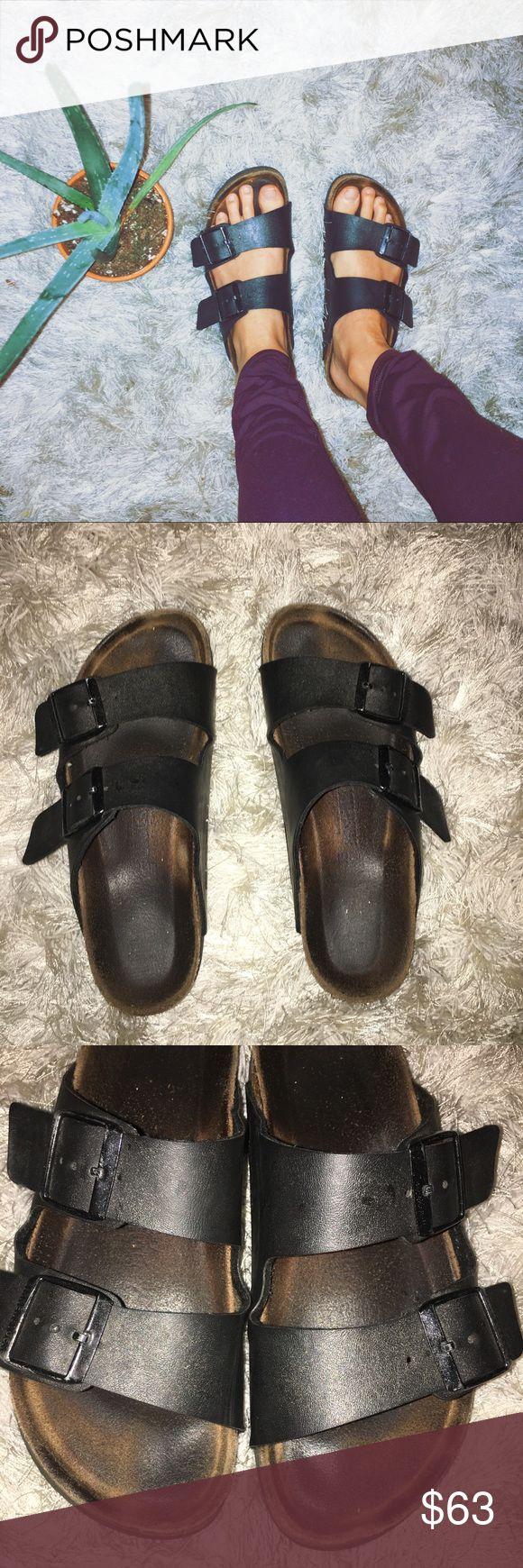 Black Birkenstocks! Black, 2 Strap Birkenstocks! Size 38 Narrow Birkenstock Shoes