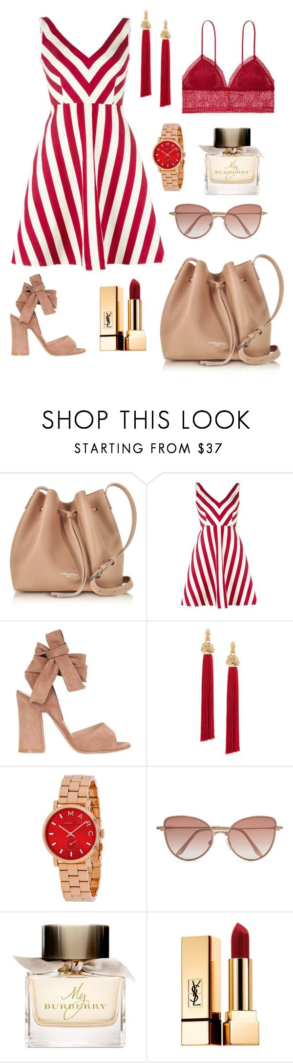 Bold stripes by brunaf19 on Polyvore featuring moda, RED Valentino, Gianvito Rossi, Lancaster, Yves Saint Laurent, Cutler and Gross, Burberry and Victoria's Secret