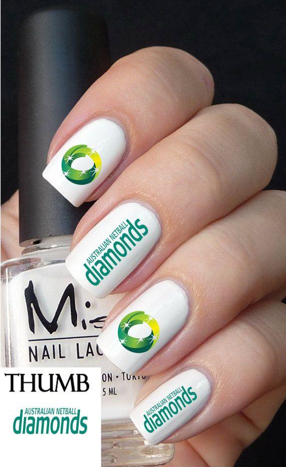 Australia Diamonds Netball nail decal by DesignerNails on Etsy, $3.95