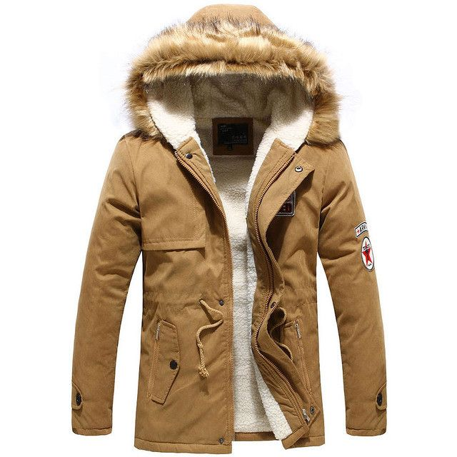 Top Men Fashion Winter Jackets Male Warm Fur Collar Coat Wool Thick Outwear Cotton Hooded