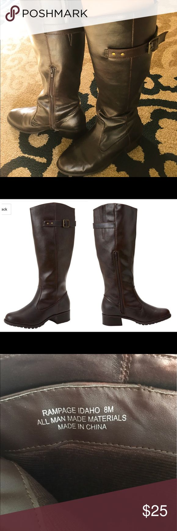 Brown Rampage Riding Boots Cognac colored boots with a slight heel. Only wore once since they ended up being too big. Most wear and creasing on boots is from being stored in my closet... tiny tear shown in last picture. Please show these boots the love they deserve 🤗 Open to offers. Rampage Shoes Heeled Boots