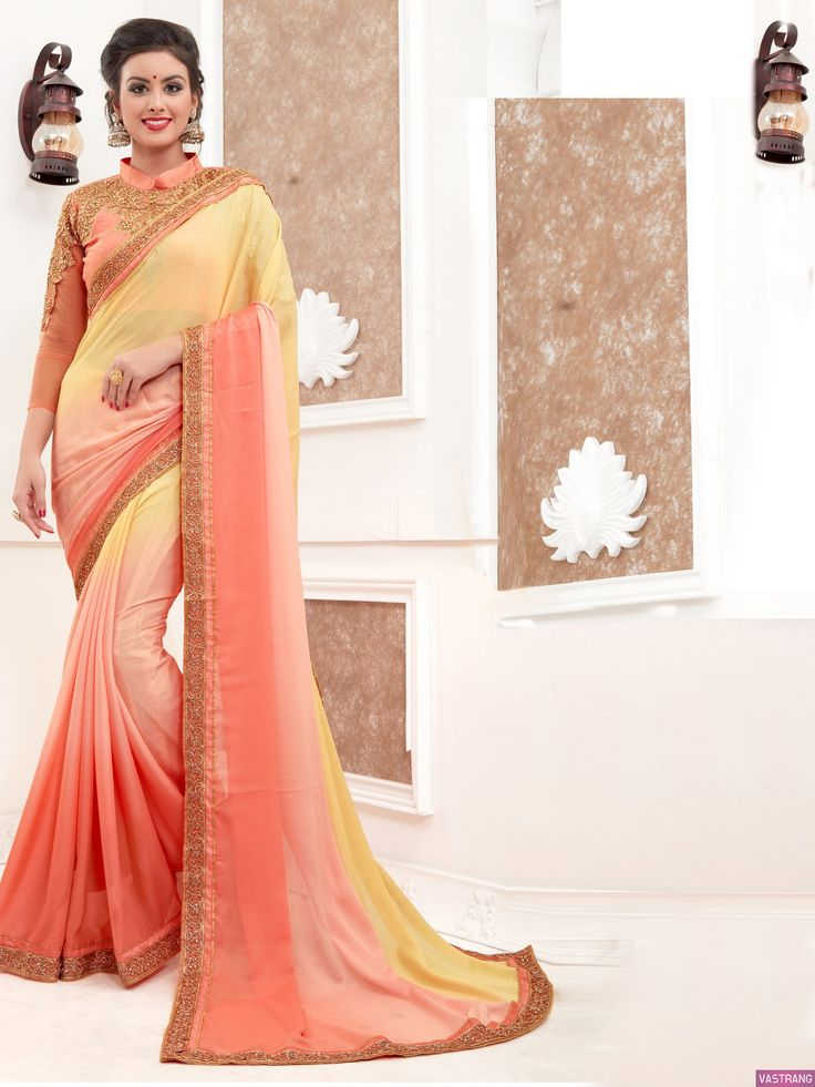 Exclusive Peach & Yellow Shaded Embroidery Work Lace Border Saree