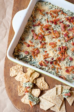 Turnip Green Dip - a warm, creamy mix of turnip greens, bacon and cream cheese. Great for game day.