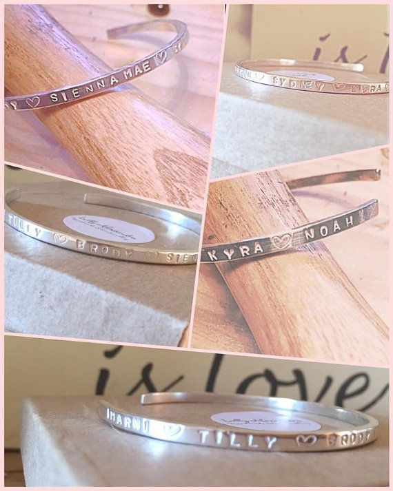 Sterling Silver cuff Personalised Hand Made Stamped Name