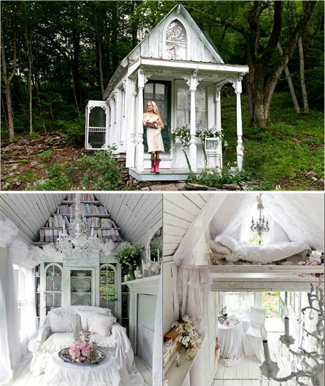Tiny cottage in the Catskills. A hunting cabin transformed into an all-white, shabby chic cottage in the hands of Sandra Foster, who uses it as a romantic retreat. The cottage measures just 9 by 14 feet and cost just $3,000 to renovate and furnish into this Victorian beauty.