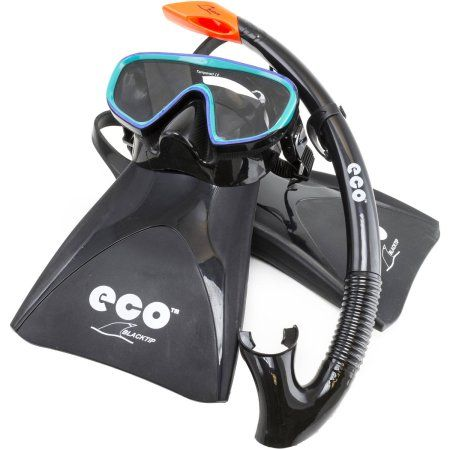 ECO Black Tip Set Hypoallergenic Black Silicone Mask Skirt with Tempered CE Lens, Semi Dry Snorkel and Adjustable Fin Strap, Packaged in a Reusable Mesh Bag, Size SM 6.5-8, Black/Emerald, Multicolor