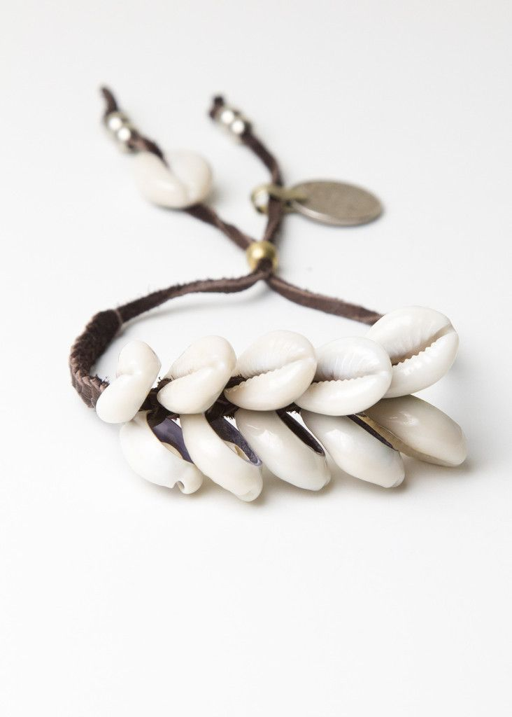 Braided Brown Leather Cowrie Shell Bracelet by SoulMakes.com