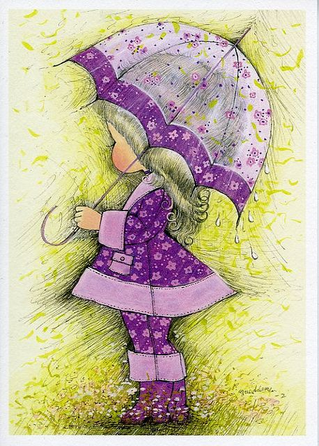 Mod •~• Sue Adams vintage greeting card of little girl in purple outfit with umbrella