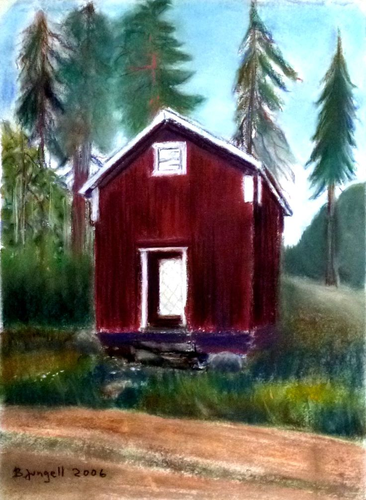 """Old storehouse"" Original pastel painting by Britta Bergström-Jungell."