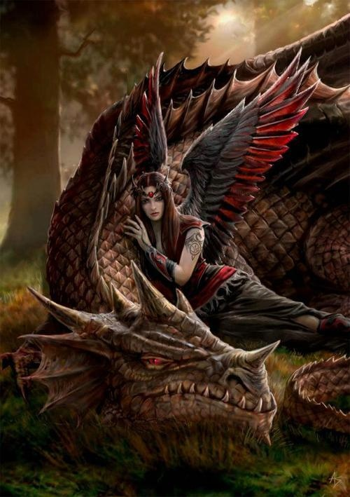 A girl and her pet dragon.