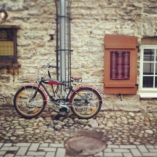 Bike and cobblestones. #Tallinn #Estonia #oldtown