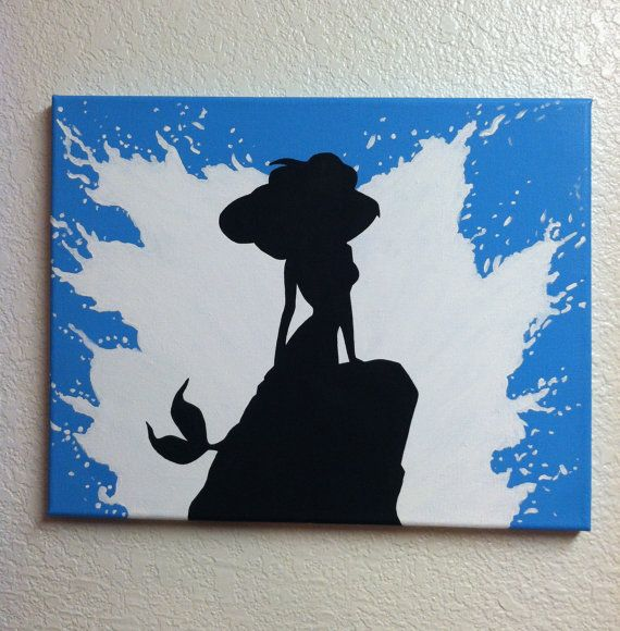 Disney Silhouette Painting - The Little Mermaid, Part of Your World (Hand painted, no stencils, custom background colors, made to order)