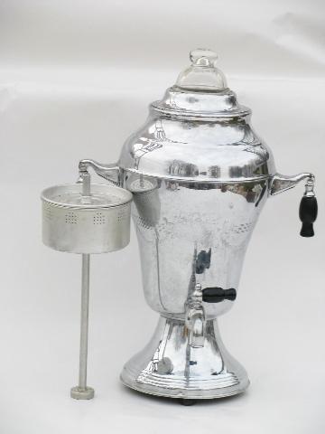Deco Moderne Vintage Chrome Coffee Set W Pot Electric Percolator Tray