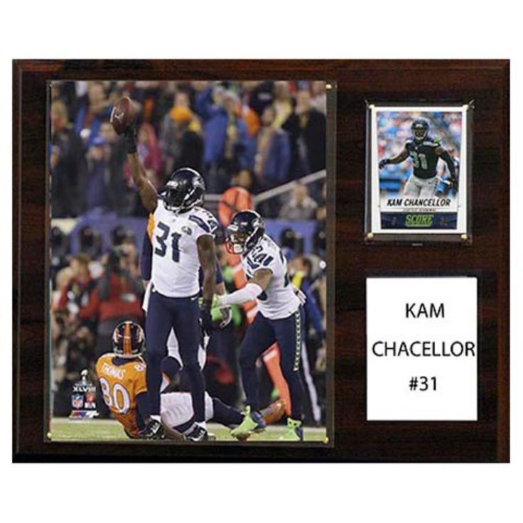 C and I Collectables NFL 15W x 12H in. Kam Chancellor Seattle Seahawks Player Plaque - 1215CHANCELLOR