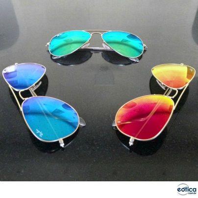 Óculos de sol Ray-Ban Espelhados Aviador #espelhados #oculos #rayban #aviador