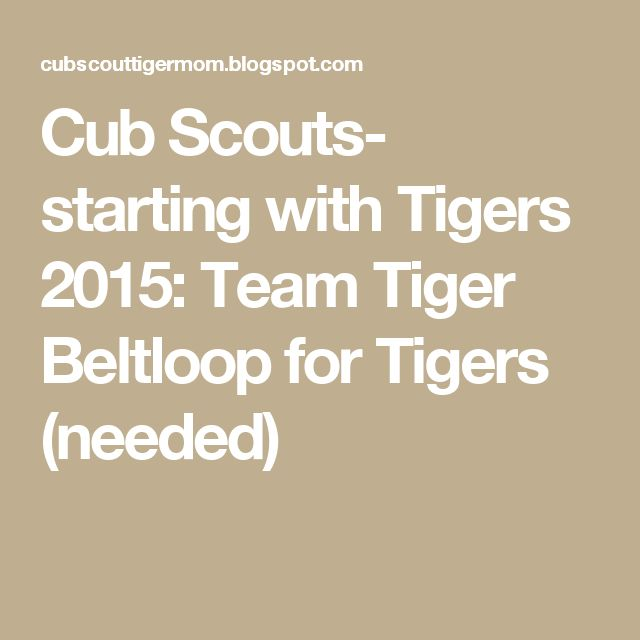 Cub Scouts- starting with Tigers 2015: Team Tiger Beltloop for Tigers (needed)