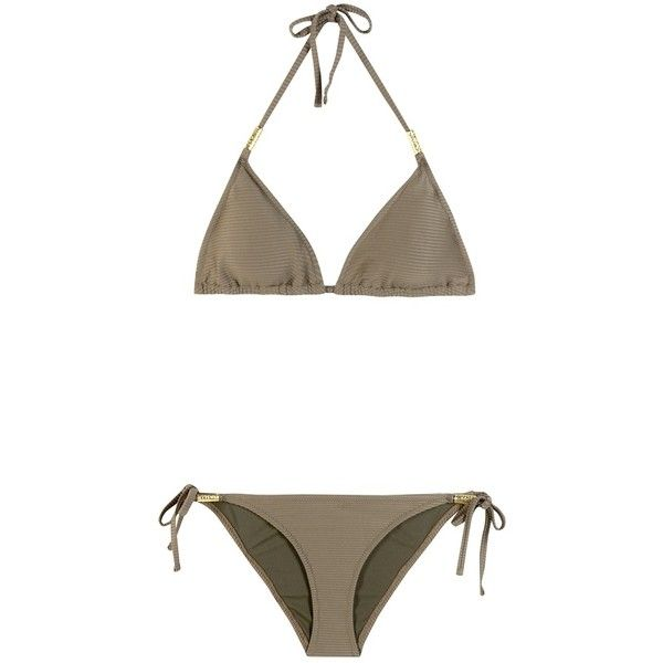 Heidi Klein Triangle Bikini ($265) ❤ liked on Polyvore featuring swimwear, bikinis, green, triangular swimwear, green swimwear, green bikini, triangle swim wear and heidi klein swimwear
