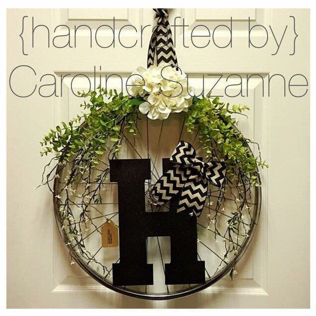 Custom Bicycle Wheel Wreath by CarolineSuzanne on Etsy https://www.etsy.com/listing/249813375/custom-bicycle-wheel-wreath