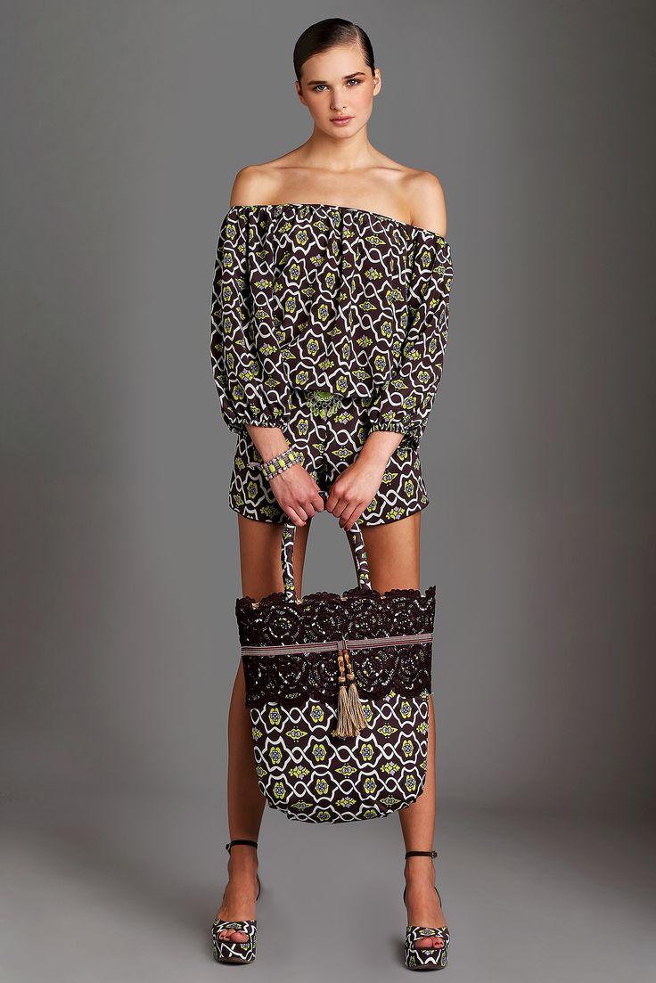 RAFFAELA D'ANGELO AFRICAN DREAM s/s 2015  #print #blueberry #maxiprint #trousers #shirt #silk #lycra #madeinitaly #gorgeous