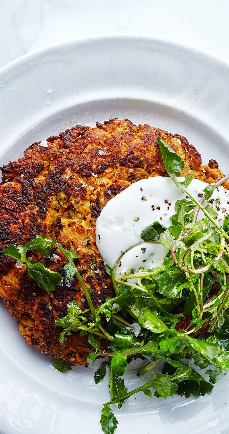 The chickpea flour in these salted carrot pancakes make them naturally gluten-free.