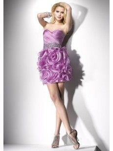 プリンセス ベアトップ クリスタル ビーズ ミニ オーガンジー カクテルドレス