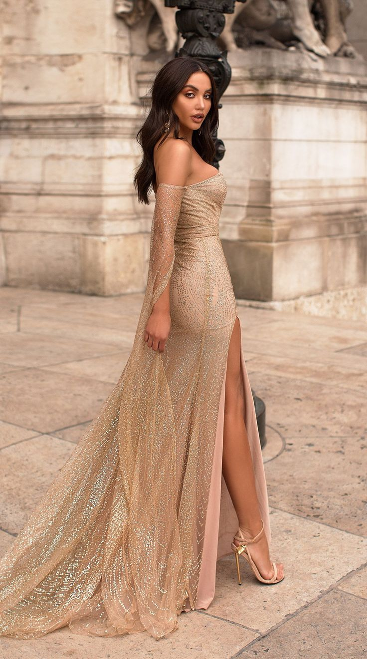 Off The Shoulder Long Sleeves Champagne Prom Dress With Split 3