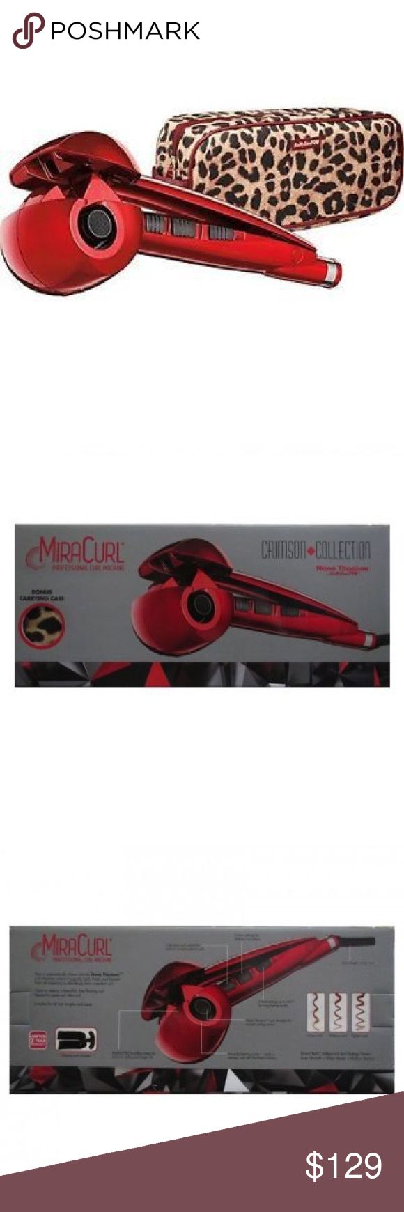 Babyliss MiraCurl Professional Curl Machine - Red Babyliss MiraCurl Professional Hair Curling Machine in limited-edition red. Like new condition. Used once and works great! Easy, perfect curls! But, I unfortunately never needed it again and won't get enough use out of it to be worth keeping. Comes with leopard print case/bag. Babyliss Other
