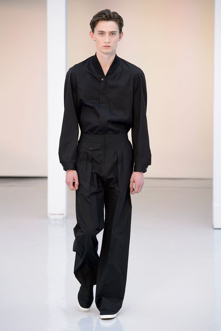 01. Rib collar blouson in cotton poplin, two-pleated large pants in heavy cotton poplin, slip-on in cotton denim #lemaire