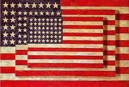 NEODADAÍSMO. Pintura Combinada. Bandeira (1954-1955), de Jasper Johns, encáustica, óleo e colagem sobre tela montada sobre madeira compensada (1,07 m x 1,53 m)